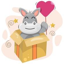 Adorable Donkey With Balloon And Box Cartoon Vector