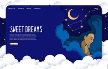 Sweet Dreams Vector Website Landing Page Design Template