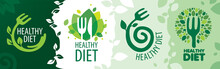 Vector Set Of Icons On The Theme Of Healthy Food