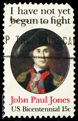 Postage stamp printed in United States shows John Paul Jones I have not yet beg Canvas Print