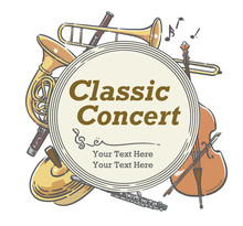 楽器のイラストを使った、コンサートポスターなどに使えるデザイン素材