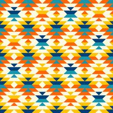 Bohemian Aztec Large Diamonds Orange Pattern