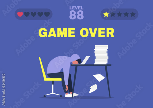 Fotomural Game over, professional burnout, Young exhausted male manager sitting at the off