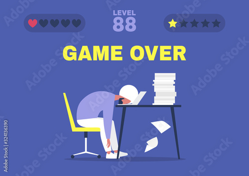 Cuadros en Lienzo Game over, professional burnout, Young exhausted indian male manager sitting at