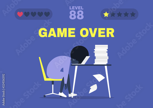 Cuadros en Lienzo Game over, professional burnout, Young exhausted black female manager sitting at
