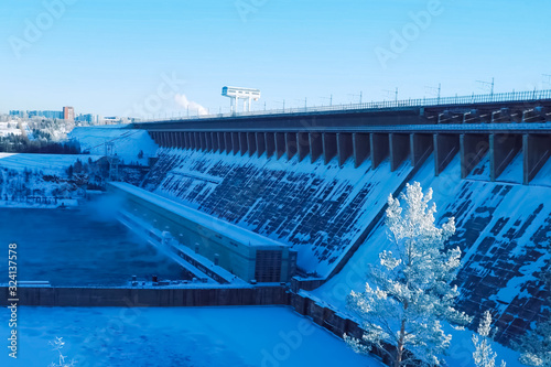 Valokuva Fraternal hydroelectric power station, view of dam and river, in