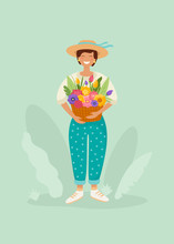 Smiling Woman In Straw Hat Hol...