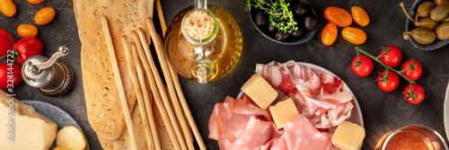 Italian food panoramic shot, antipasti flat lay Canvas Print