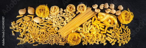 Italian pasta panorama, a flat lay texture of many different pasta kinds, shot f Canvas