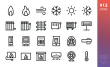 Heating And Cooling Icons Set. Set Of Heaters, Gas And Fire Flame, Air Conditioning, Infrared Heater, Oil Radiator, Electric Fireplace Insert, Electric Warm Floor, Fan Heater Vector Outline Icon