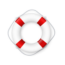 Realistic Red And White Lifebuoy Whith A Rope. Life Buoy- Realistic Vector Drawing Isolated On White Background. Eps10