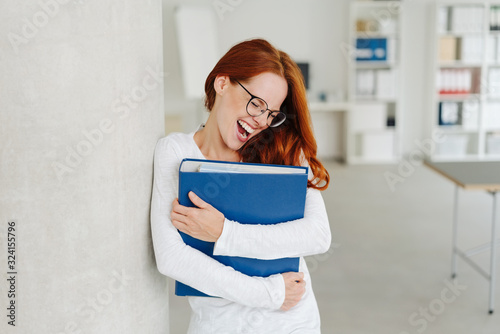 Fototapeta Young businesswoman laughing out loud obraz