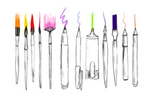 Hand Drawn Painting Tools, Art...