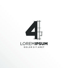 Number 4 Logo Design With Architecture Element