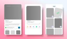Dating App Design Inspired By Tinder Style. People Match Social Media Mockup. Teender  Application. Vector Illustration
