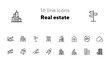 Real estate line icon set. Apartment building, city, key on hand. Real estate concept. Can be used for topics like house buying, mortgage, rent
