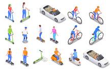 Personal Transport Isometric Icons Set