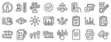 Opinion, Customer Satisfaction Feedback And Test Icons. Survey, Report Review Line Icons. Checklist Review, Quiz And Business Report Symbols. Evaluation Quiz, Feedback Chart, Management. Vector