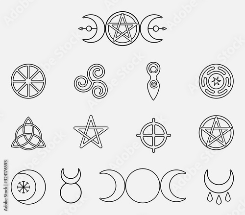 Obraz na plátně Collection of magical wiccan and pagan symbols: pentagram, triple moon, horned god, triskelion, solar cross, spiral, wheel of the year