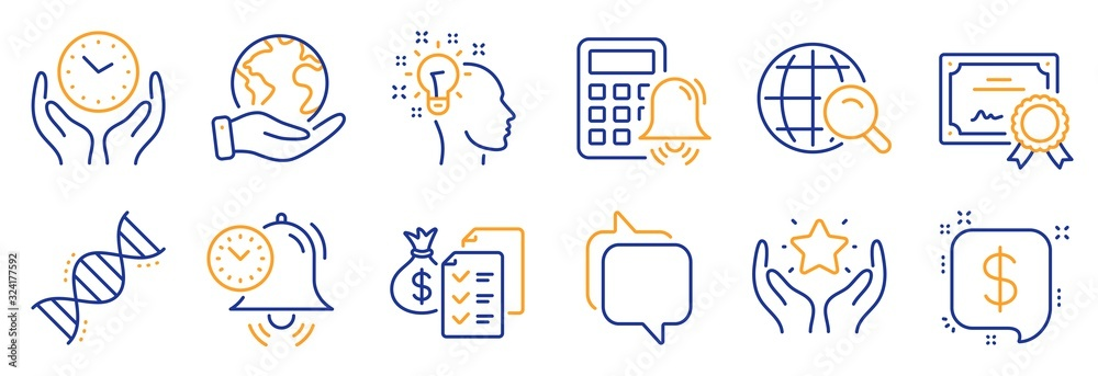 Fototapeta Set of Education icons, such as Idea, Payment message. Certificate, save planet. Accounting wealth, Ranking, Safe time. Time management, Internet search, Messenger. Vector