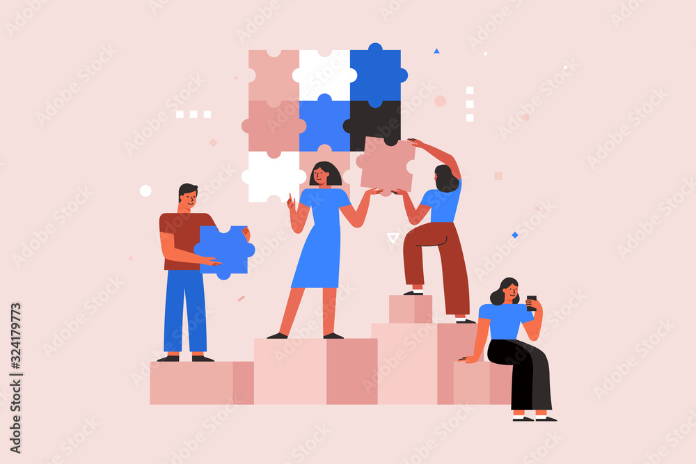 Fototapeta Vector illustration in simple flat style - teamwork and development concept - people holding  abstract geometric shapes and puzzle pieces