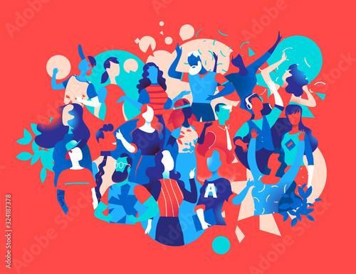 Obraz na plátne Persone che festeggiano e ballano insieme - illustrazione vettoriale