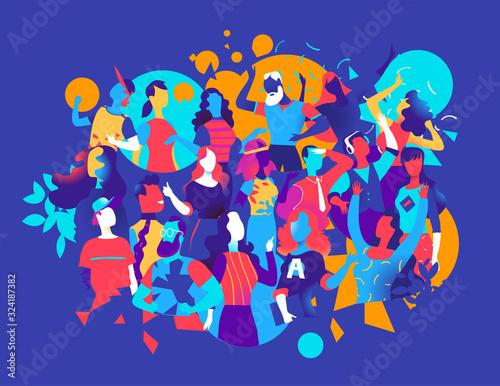 Vászonkép Persone che festeggiano e ballano insieme - illustrazione vettoriale