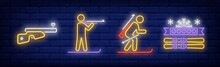 Biathlete Neon Signs Set. Ski,...
