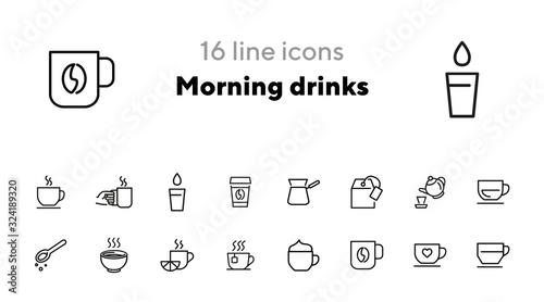 Valokuvatapetti Morning drinks line icon set
