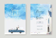 Set Of Wedding Cards, Invitation, Save The Date Template. Newlywed Couple Is Driving A Convertible, After Church Ceremony Image With Blue Watercolour  Background. Vector.