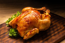 Roasted Whole Chicken On Woode...