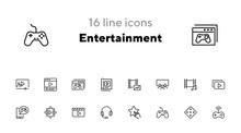 Entertainment Line Icon Set. C...