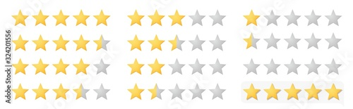 Vector full 5 star rating icon set with lighted yellow golden and grey stars Poster Mural XXL