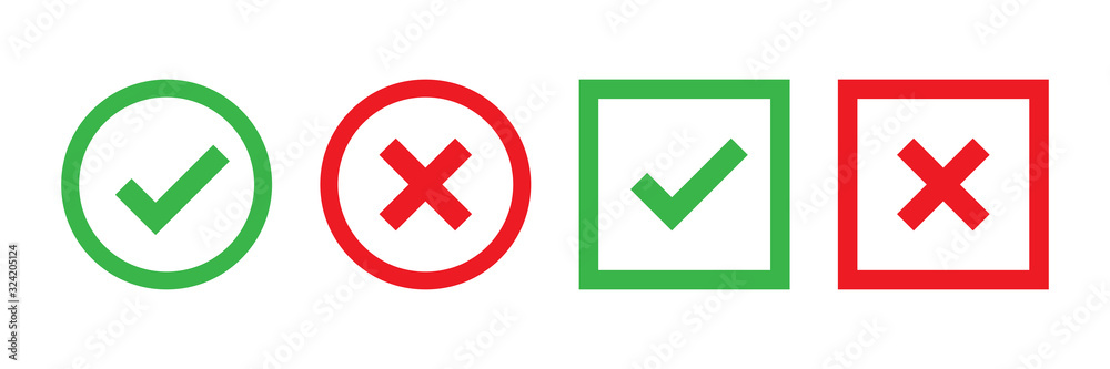 Fototapeta Checkmark cross on white background. Isolated vector sign symbol. Checkmark icon set. Checkmark right symbol tick sign. Flat vector icon. Test question.