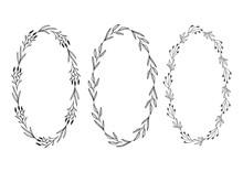 Elegant Oval Frames. Botanical Wreath Design. Vector Isolated Illustration.