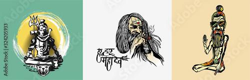 Fotografie, Obraz Set of t-shirt Lord shiva design poster - Sketch Vector illustration
