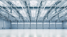Steel Construction Factory Building Indoor General View As Industrial 3D Background Copy Space Illustration.