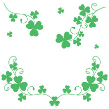 Pattern With Green Clover Isol...