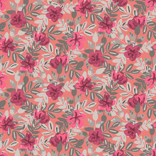 Bright Painted Blossoms Seamless Vector Pattern.