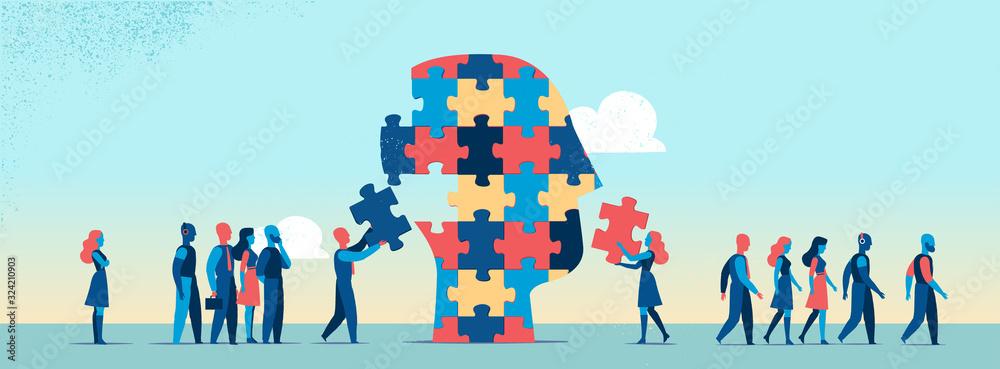 Fototapeta Persone che completano puzzle per fare la testa umana - illustrazione vettoriale