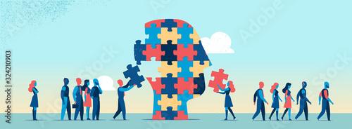 Fototapeta Persone che completano puzzle per fare la testa umana - illustrazione vettoriale obraz