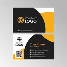 Simple Abstract Yellow And Black Business Card With Qr Code Design, Professional Name Card Template Vector