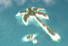 Maldivian Island In The Shape Of A Palm Tree, 3d Rendering