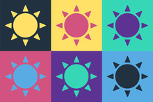 Pop Art Sun Icon Isolated On C...