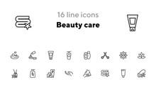 Beauty Care Line Icon Set. Shampoo, Scissors, Towel, Flower. Beauty Concept. Can Be Used For Topics Like Cosmetics, Spa Salon, Skin Care