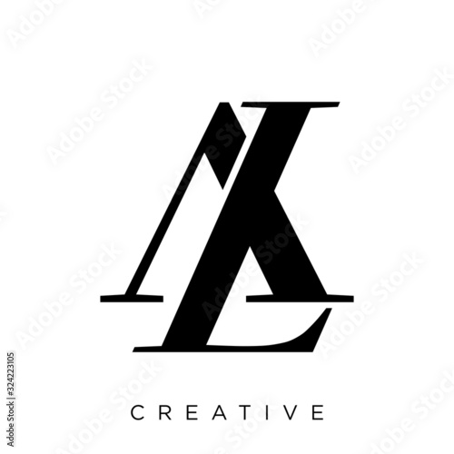Photo al or la logo design vector icon