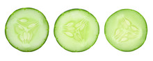 Set Of Sliced Cucumbers On A White Background.