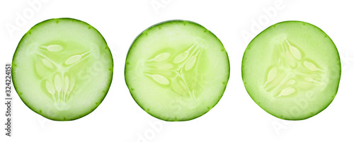 Fototapeta Set of sliced cucumbers on a white background. obraz