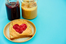 Peanut Butter Jelly Heart Sandwich