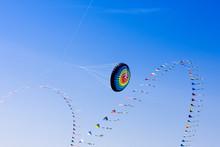 Huge Colourful Kite In The Sky,schoenberg Beach,Germany,Europe